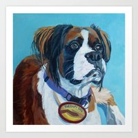 nori Art Prints featuring Nori the Therapy Boxer by Barking Dog Creations Studio