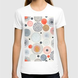 Mid Century Modern Colorful Circle Patterns Illustration Seamless Pattern T-shirt