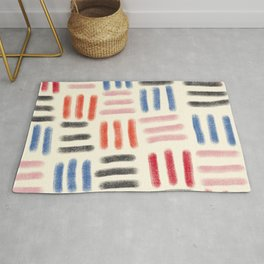 Red, Pink, and Blue Dash Mud Cloth Rug