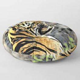 Tiger roar Woodblock Style Floor Pillow