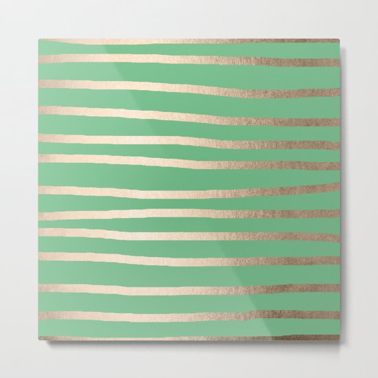 Abstract Drawn Stripes Gold Tropical Green Metal Print