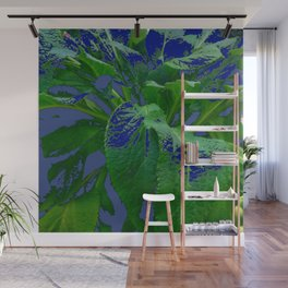 ABSTRACTED GREEN & PURPLE GARDEN LEAVES  MODERN ART Wall Mural