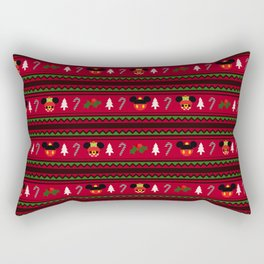 Christmas Mouse Ears Ugly Sweater Pattern Rectangular Pillow