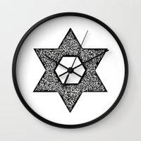 jewish Wall Clocks featuring Star of David (Jewish star) by ZannArt Originals
