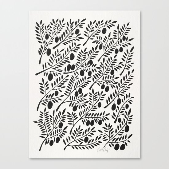 Black Olive Branches Canvas Print