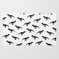 t rex Area & Throw Rugs featuring T-Rex Pattern by Elisabeth Fredriksson