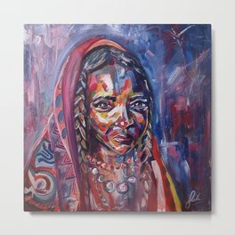 Cloaked Girl Metal Print