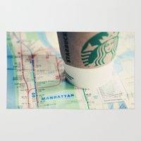 starbucks Area & Throw Rugs featuring Manhattan and Starbucks by Kim Fearheiley Photography