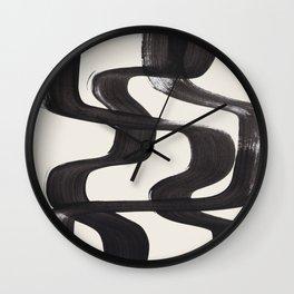 Mid Century Modern Minimalist Abstract Art Brush Strokes Black & White Ink Art Ripple Lines Wall Clock