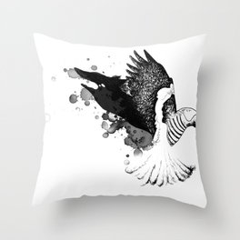 Black Fox winged Magpie Throw Pillow
