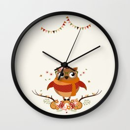 Chouette automnale Wall Clock