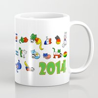world cup Mugs featuring WORLD CUP KITTEHS 2014 by Helenasia