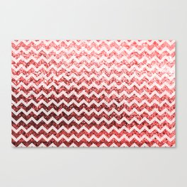 Glitter Sparkly Bling Chevron Pattern (red) Canvas Print