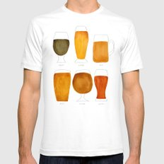 Beer LARGE White Mens Fitted Tee
