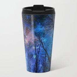 Black Trees Dark Blue Space Travel Mug