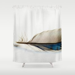 Blue Jay Feather Shower Curtain