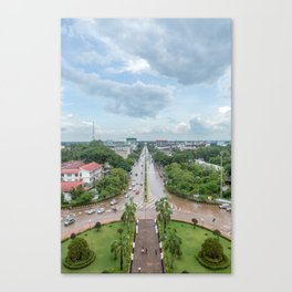 View of the City from Patuxai II, Vientiane, Laos Canvas Print