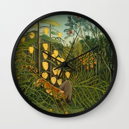 "Henri Rousseau ""Tropical Forest: Battling Tiger and Buffalo"", 1908 Wall Clock"