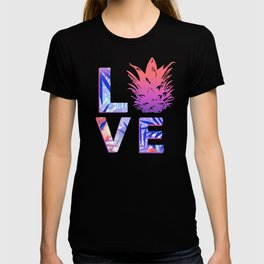 Love Pineapple Typography Tropical Boho Summer Vibes T-shirt
