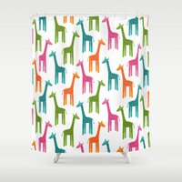 giraffes Shower Curtains featuring Giraffes by ts55