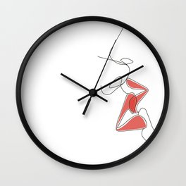 One-Line Kiss Wall Clock