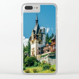 Peles Palace In Transylvania, Architecture Photography, Medieval Castle, Mountain Landscape, Romania Clear iPhone Case