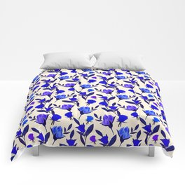 Rosebud Print - Cobalt Blue Comforters