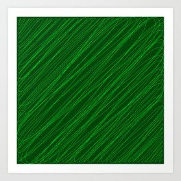 Royal ornament of their green threads and dark intersecting fibers. Art Print