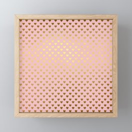 Gold and pink sparkling and shiny Hearts pattern Framed Mini Art Print