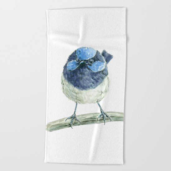 Fairy wren bird Beach Towel