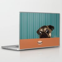 macaron Laptop & iPad Skins featuring Le pug et le macaron by brocoli art print
