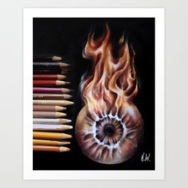 """Fire Eye"" Drawing Art Print"