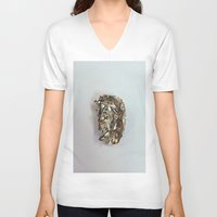 gold foil V-neck T-shirts featuring Gold Foil by Terriffico