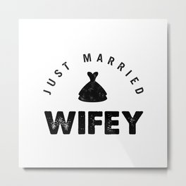 Black & White Wifey - Dress (just married) Metal Print