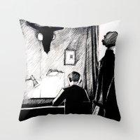 221b Throw Pillows featuring A 221B Scene by Carrianne Bullard