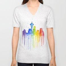 Seattle Skyline Rainbow Watercolor Unisex V-Neck