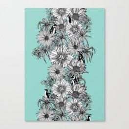 Penguins & Flowers Canvas Print