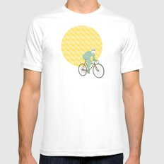 Stache with Sunrise MEDIUM Mens Fitted Tee White