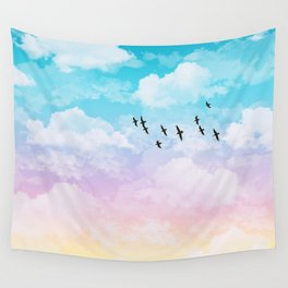 Little Fluffy Clouds Pastel Sky with Birds Wall Tapestry