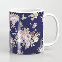 Elegant navy blue lilac pink gold glitter floral Coffee Mug
