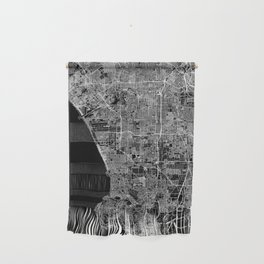 Los Angeles Black Map Wall Hanging