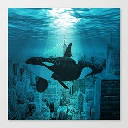 Orcas in Manhattan Canvas Print
