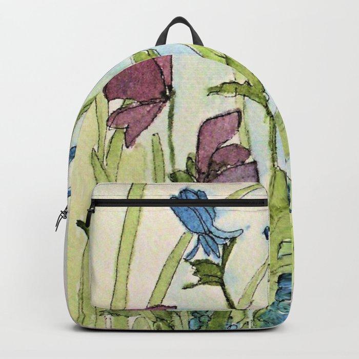 Columbine Garden Flower Watercolor Backpack