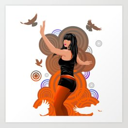 Dancing girl with doves Art Print