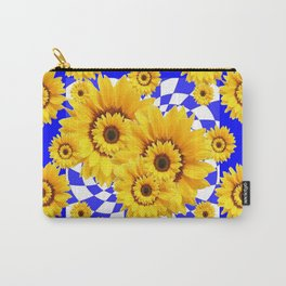YELLOW SUNFLOWERS ABSTRACT BLUE ART Carry-All Pouch