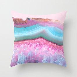 Rose Quartz and Serenity Agate Throw Pillow