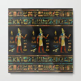 Egyptian  Gold, Teal and Red  glass pattern Metal Print