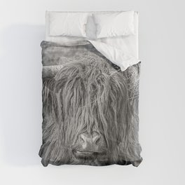 Black and white big Scottish Highland cow Comforters