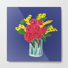 Roses & mimosas Metal Print