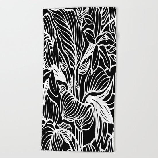 Black White Floral Beach Towel